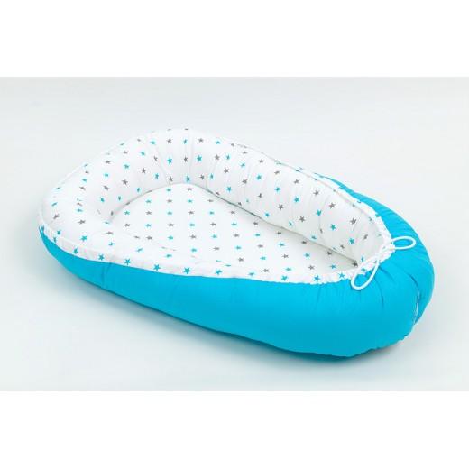 AKCE - Hnízdo pro miminko vzor HVĚZDIČKY modré šedé malé